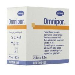 Пластырь фиксирующий, Омнипор р. 2.5смх9.2м №1 арт. 900581 на нетканой основе гипоаллергенный для щадящей фиксации белый без индивид. упак.